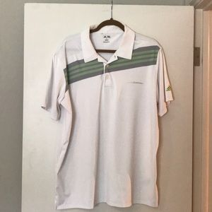 Adidas white w green and gray stripe polo XL